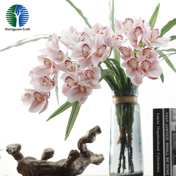 Real touch fabric Cymbidium faberi Rolfe artifiical orchid