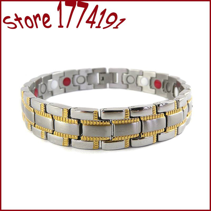 brushed bracelet unisex stainless steel magnetic bracelet two tone IP gold plating magnet 2000 gauss