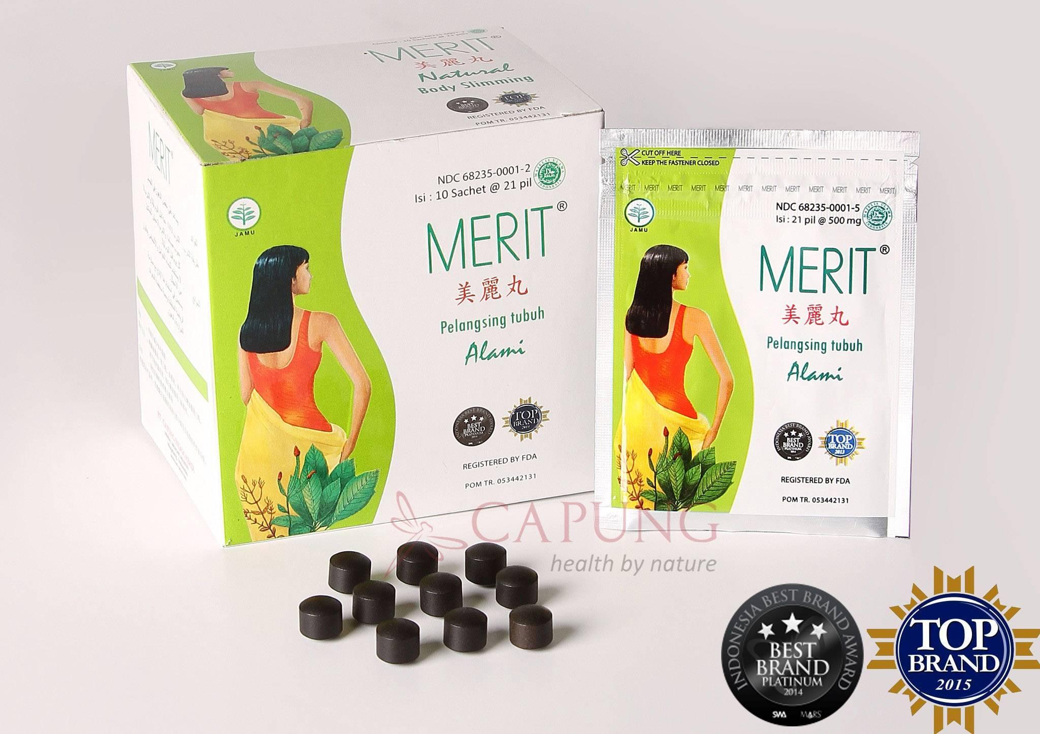 1 Box = 10 Sachets/210 Pills Jamu Merit Herb for Dietary, Loss Weight, Loss Fat