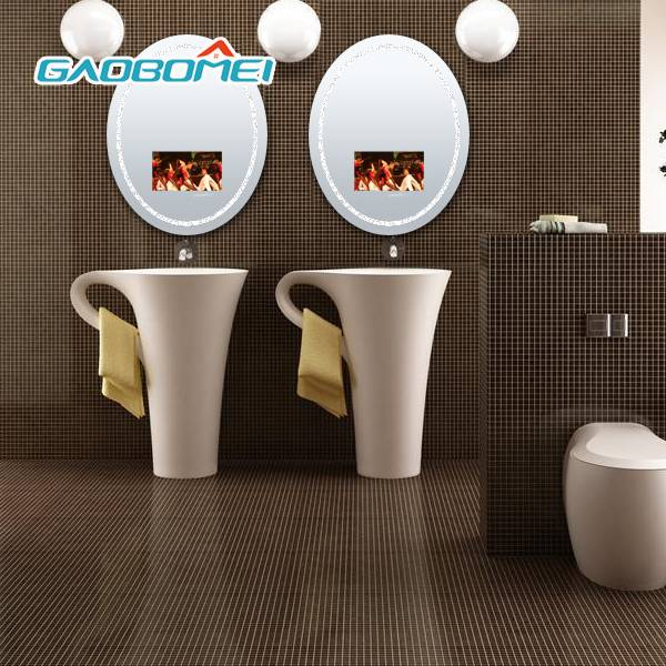 "Gaobomei 16"" TV Mirror Oval Waterproof Bathroom TV Mirror Electric Mirror diaplay with LED Light, In"