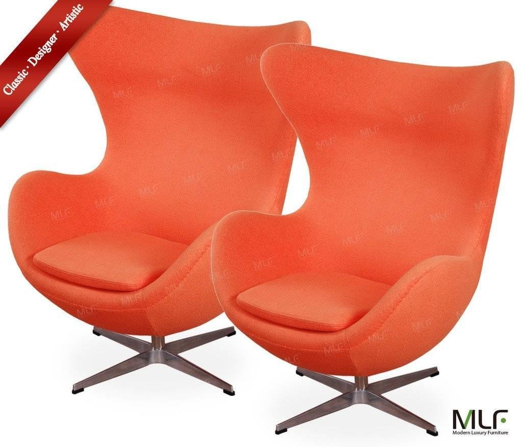 MLF® Arne Jacobsen orange  Egg Chair Premium Cashmere Wool & Hand Sewing