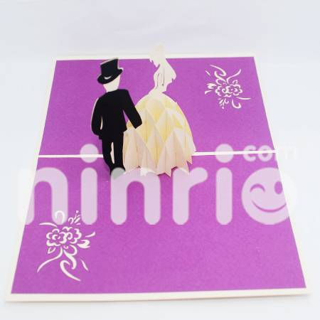 Bride and groom Pop Up Card Handmade Greeting Card