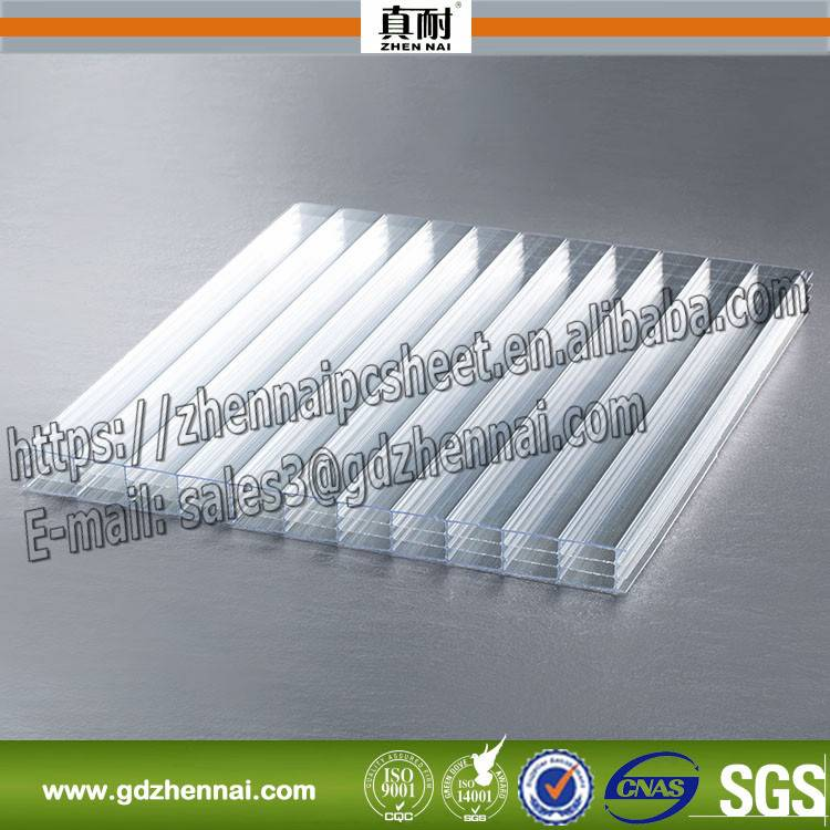 Transparent colored four wall polycarbonate hollow 10mm 18mm plastic sheet