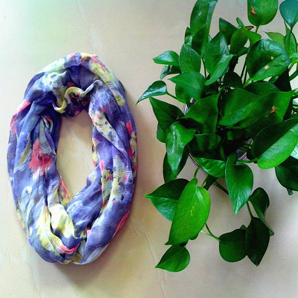 Lightweight Spring Infinity Floral Flower Viscose Print Scarf