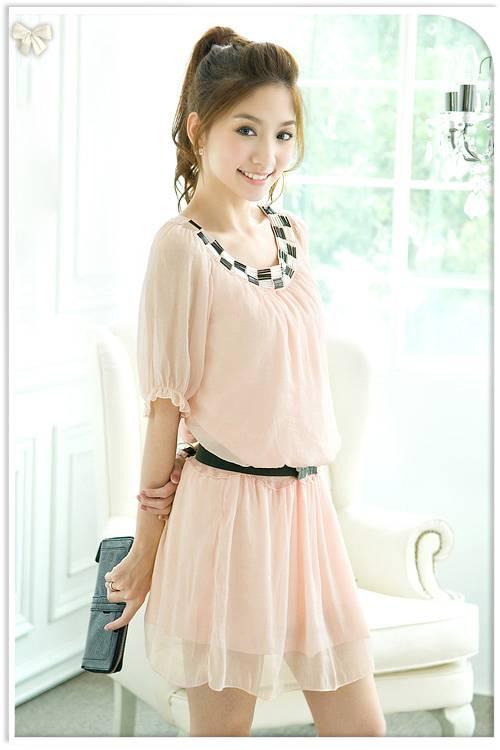 Fashion  Half Sleeve Chiffon Dress