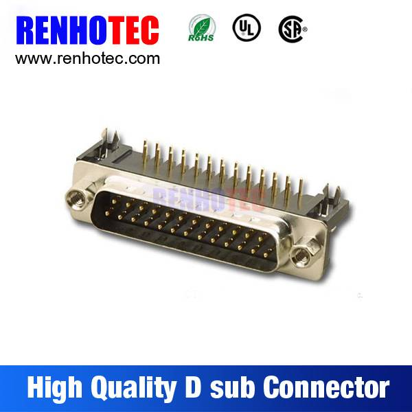 Made in China VGA PCB Mount Right Angle Solder Male 25 Pin D-Sub Connector