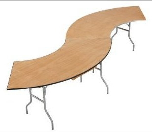 PLYWOOD serpentine BANQUET FOLDING TABLE