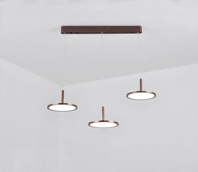 Metal Acrylic Pendant Lamps with 3 Heads Lights