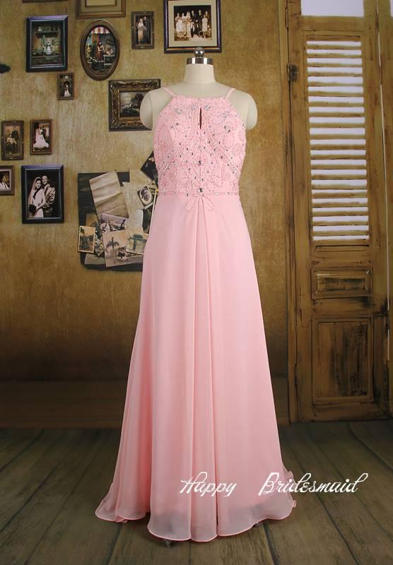 baby pink bridesmaid dress, short knee length a line chiffon bridesmaid dress prom dress