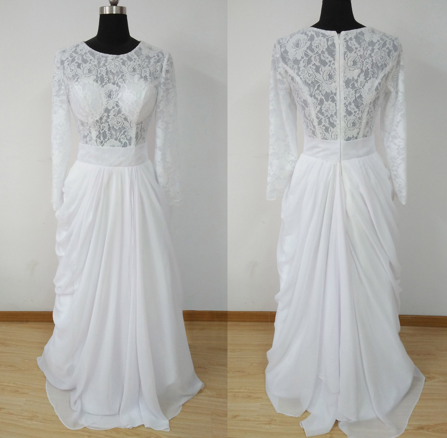 O-neck Lace Wedding Dress Long Sleeves