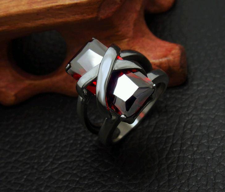 Stainless Steel Women Ruby Biker Jewelry Ring