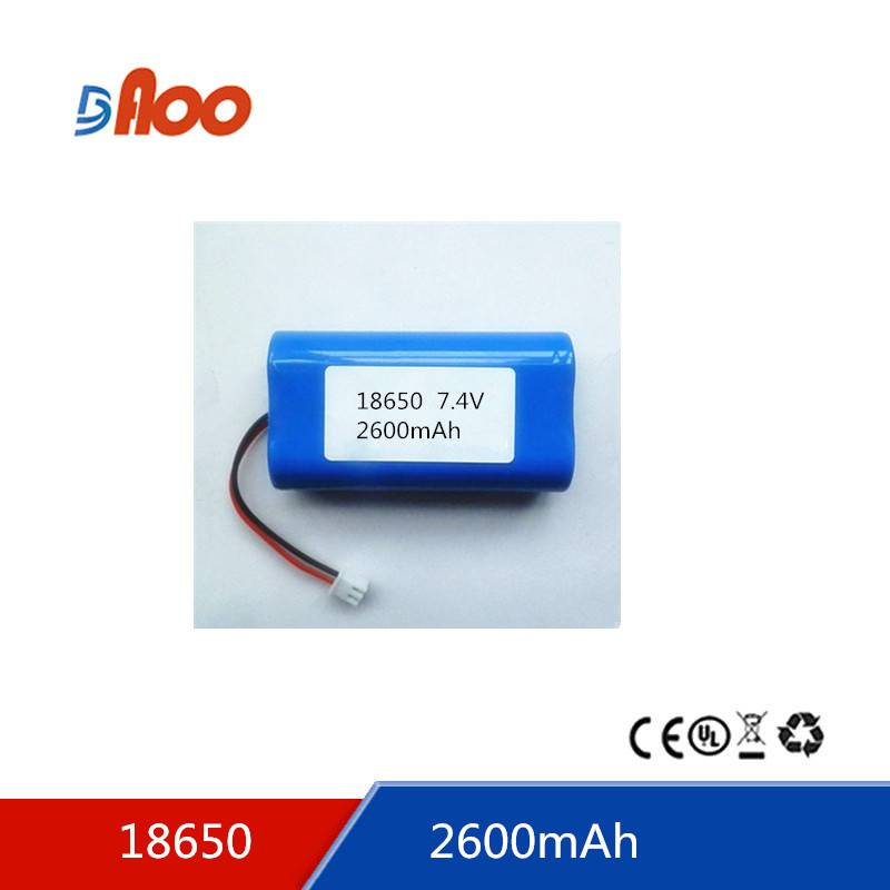 Li-ion 18650 battery pack 7.4V 2600mAh rechargeable battery