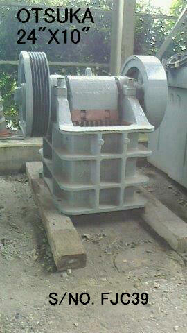 "USED ""OTSUKA"" 24"" X 10"" SINGLE TOGGLE JAW CRUSHER S/NO. FJC39"