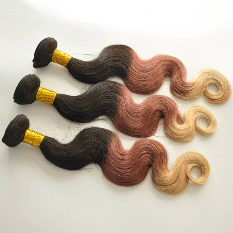 Ombre Hair Body Wave Extensions Three Color Peruvian Human Hair Weave Bundles 4 Pcs Lot Ombre Peruvi