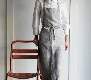 Natural linen kitchen full bib apron