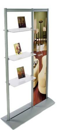 Banner stand with acrylic shelves