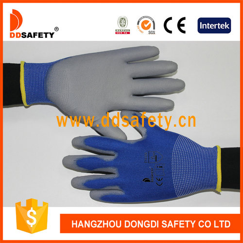 Blue nylon with grey pu glove-DPU167