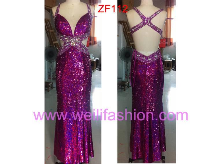 Cheap Long Sexy Beading Applique Sequin Evening Dresses ZF112