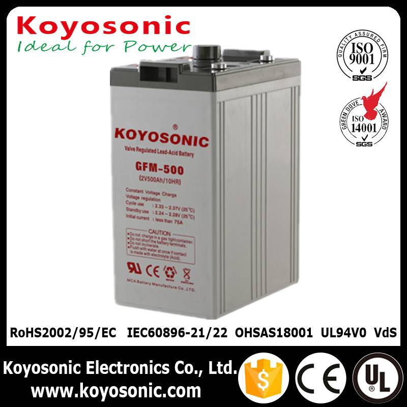 Rechargeable Lead acid battery 2V 500Ah AGM battery for solar storage system