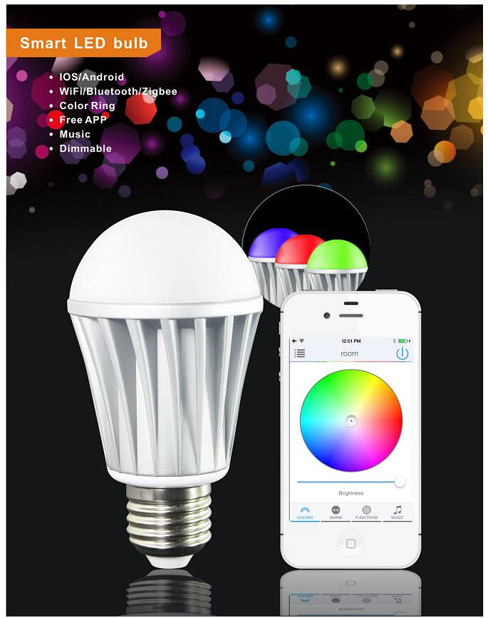 Bluetooth Wifi Controlled Color Smart LED Light Bulb control of your smartphone