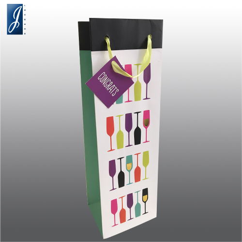 Customized wine packaging paper bag for glass