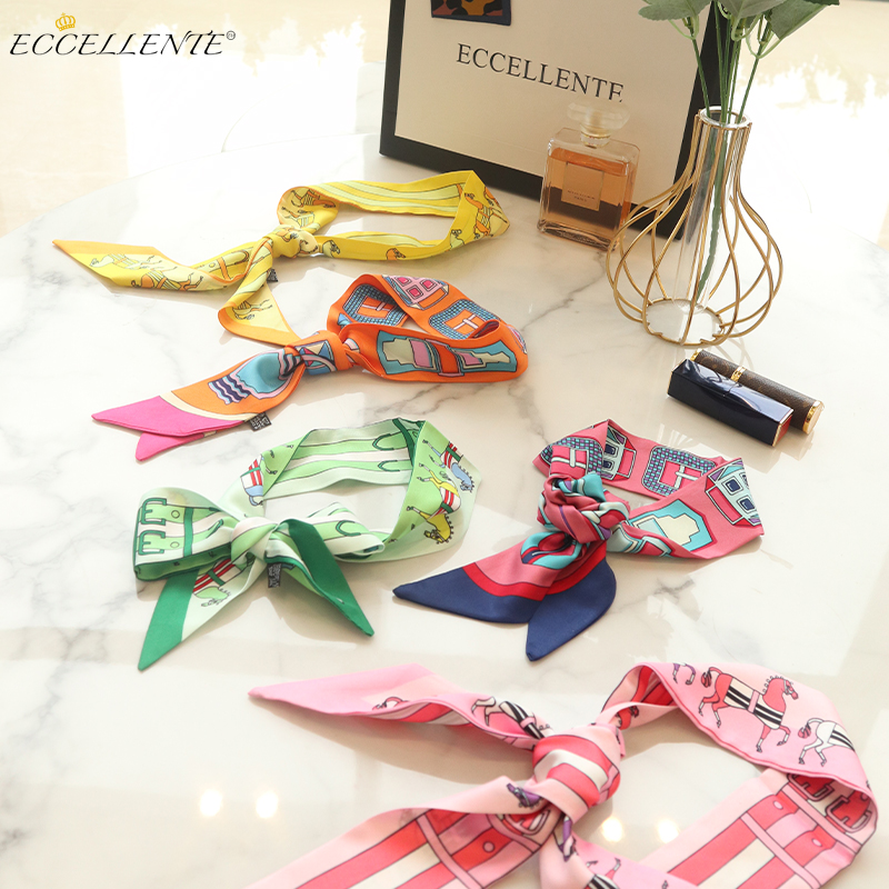2021ss New Arrival Ladies Croci, Rose Red and Cambridge Blue Cravat Shaped Silk Scarf