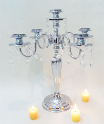 Wholesale Large silver plated long stemed candle holder for home decoration