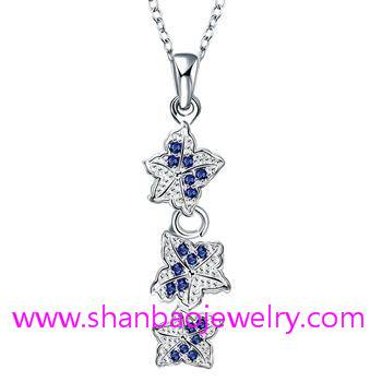 Silver Plated Costume Fashion Zircon Jewelry Women Necklaces