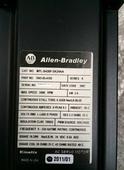 Allen Bradley MPL-B430P-SK24AA Servo Motor
