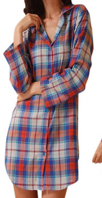 Wholesale OEM Ladies Turn-down Collar Button-Fly Night skirt Ginghan Check 100% Cotton Pajamas  draw