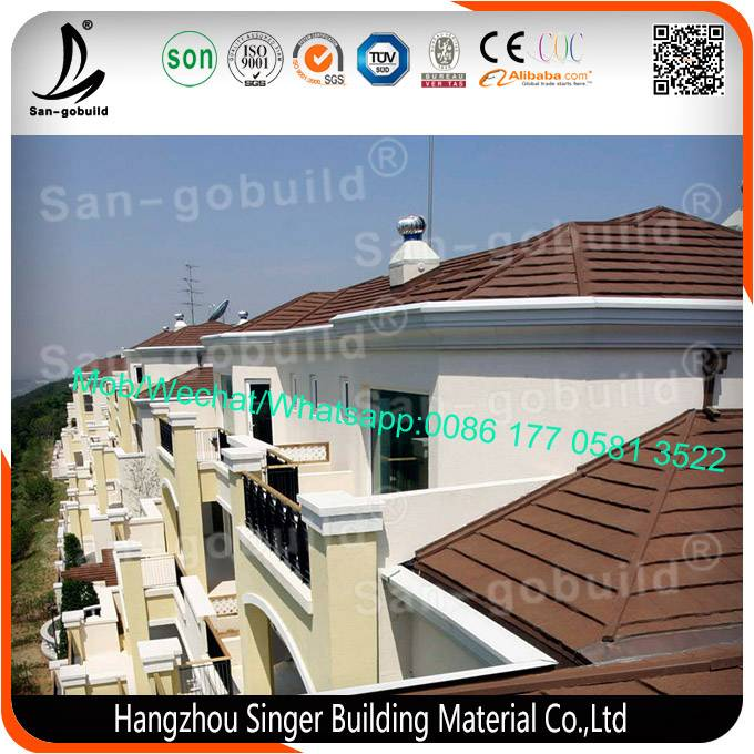 High quality aluminum zinc plate colorful stone coated metal roofing tile, China heat resistant alum