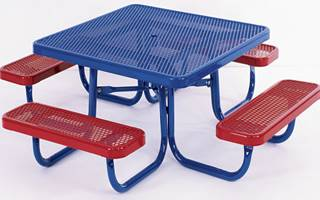 Outdoor tables with benches