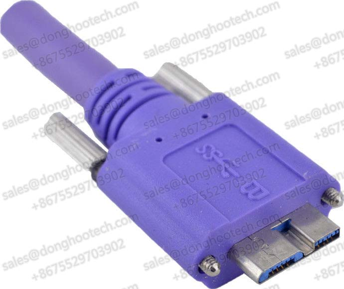 Hi-Speed USB3.0 A Plug to Micro B Plug Locking Screws Cable 5meters USB3 Vision Standard in Color Violet