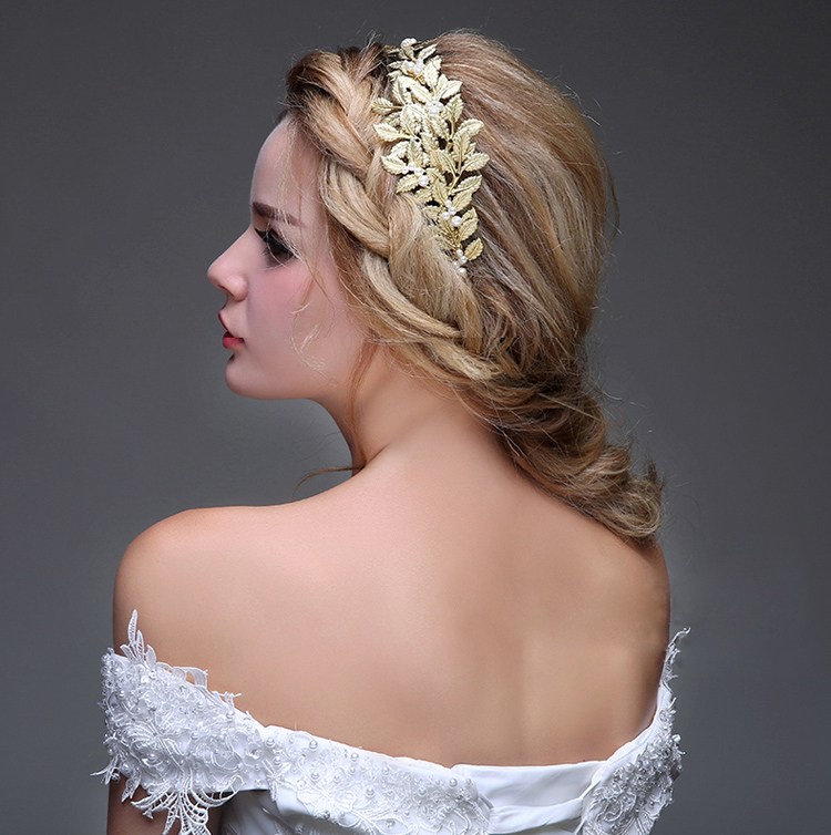 Golden Plated Hair Accessories Wedding Tiara Headband Leaves Tiara Crown for Bride