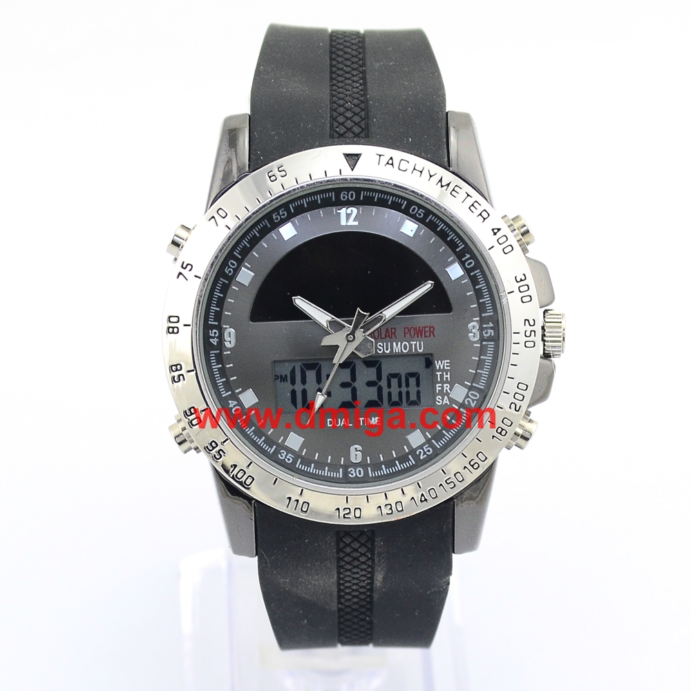 dual time solar watch for man