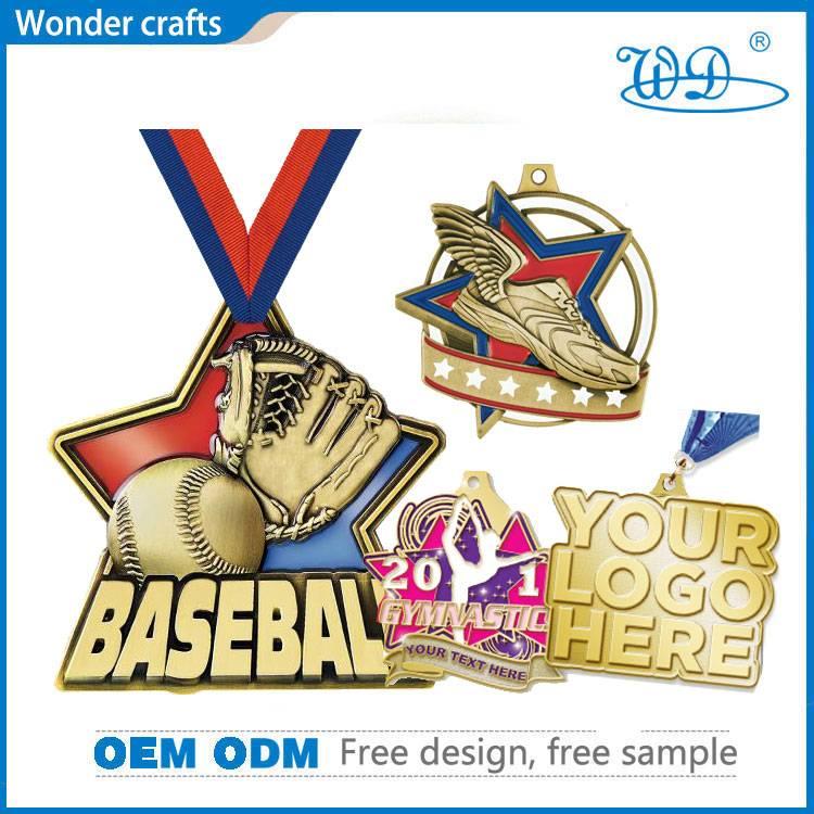 Diecasting Pentagram Embossed Anti-Gold Hard Enamel Shiny Baseball Gymnastic Running Medallion