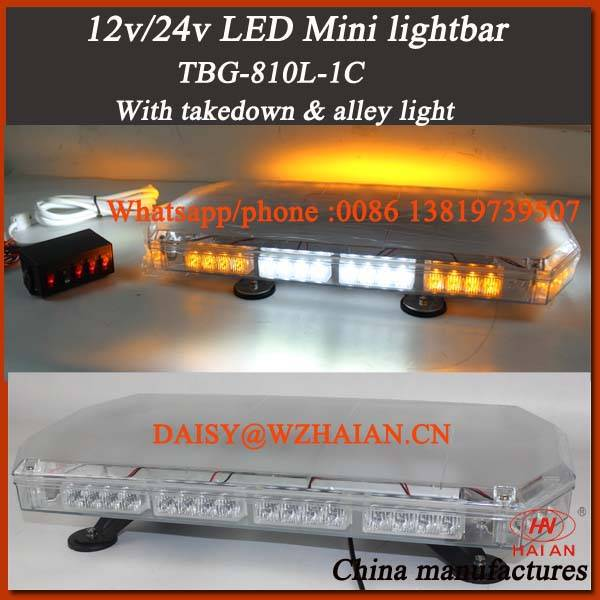 Code 3 Style Mini Strobe Light Bar with Takedowns and Alley Lights