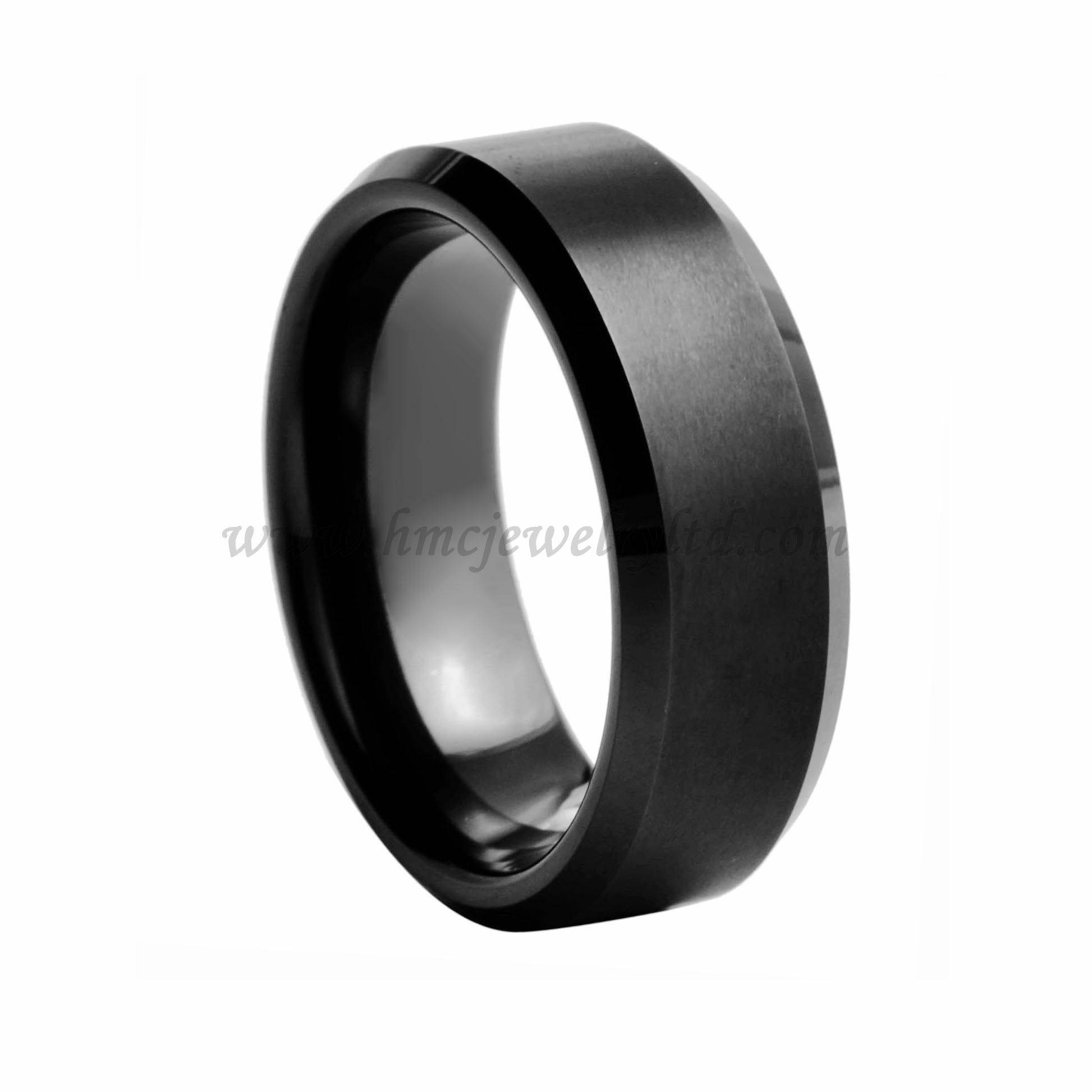 Mens Beveled Edged Black Tungsten Carbide Ring Custom Logo Ring