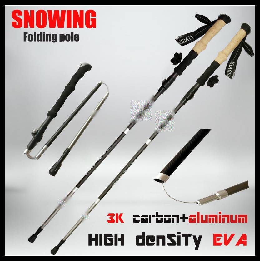 carbon fiber 3 sections ultralight high quality mountain climbing sticks for climbing