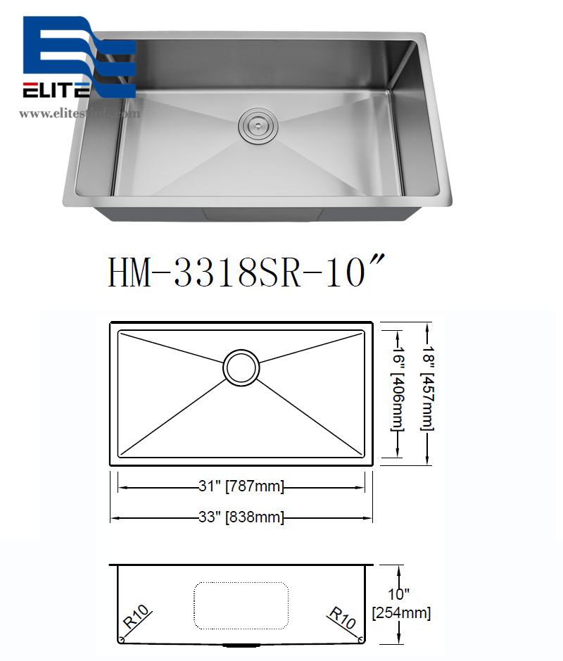large Stainless Steel Undermount Sink Single Bowl