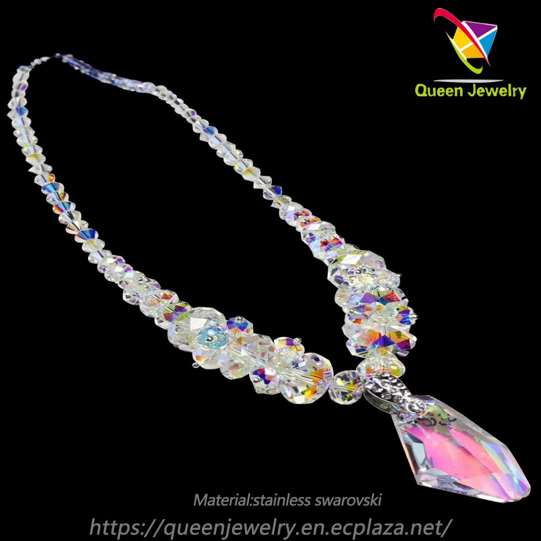 Silk thread necklace Handwork Wonderful swarovski crystal beads Necklace earring set
