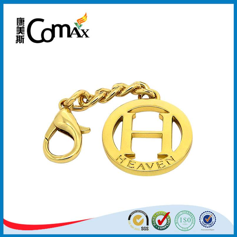 H letter hollow round custom handbag metal logo tag with chain and hook