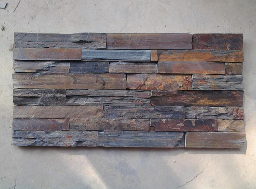 dark grey rusty slate culture stone panel for wall cladding