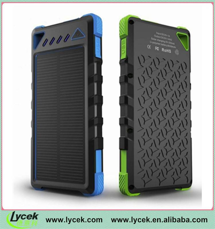 Superior quality 8000mah waterproof solar power bank, solar cellphone charger