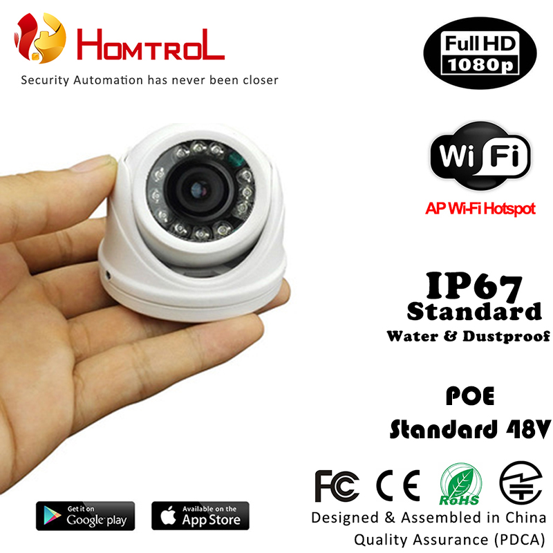 IP67 Waterproof 1080P Outdoor WiFi Mini Dome IP Camera with 2.8mm 2 Mega Pixel Lens