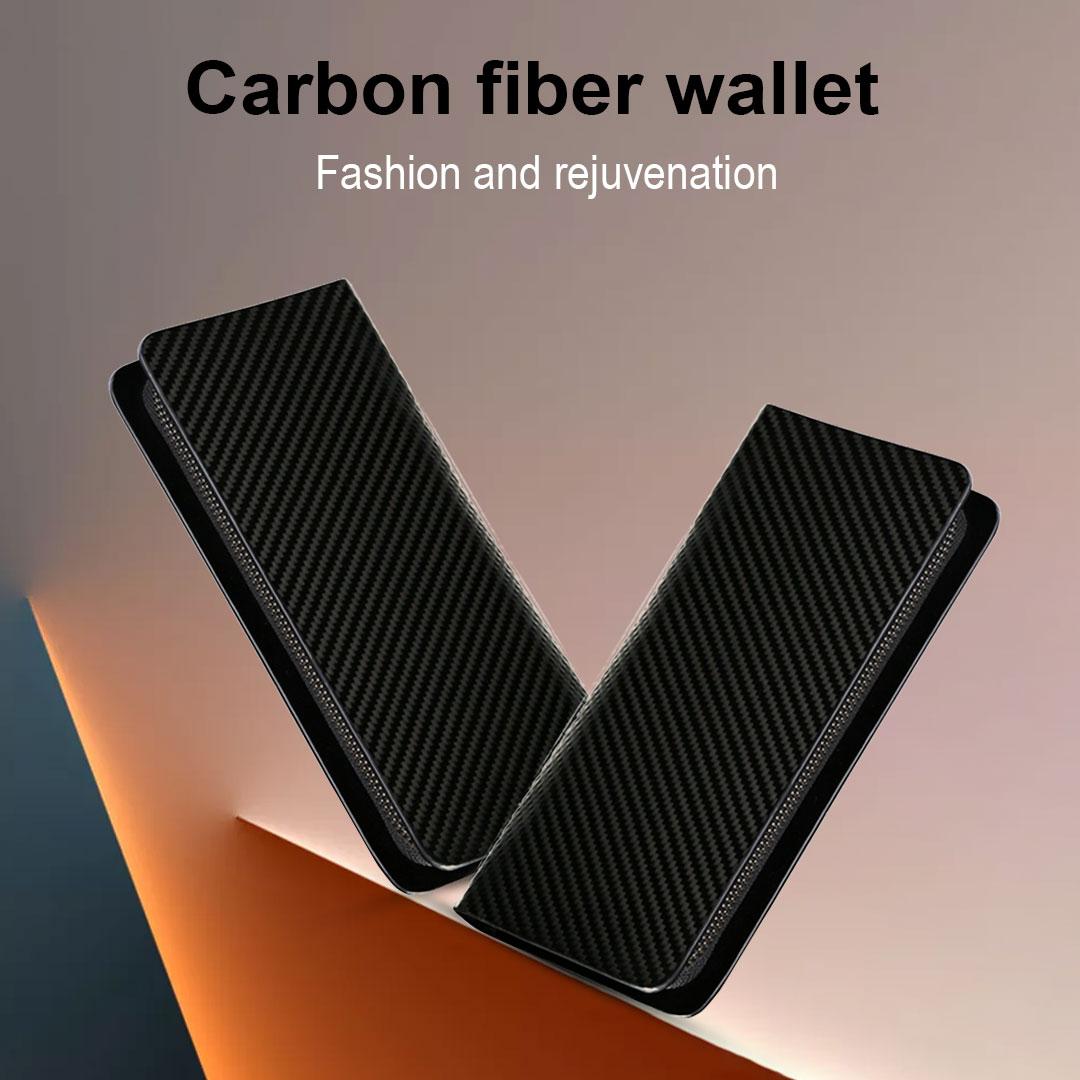 Custom logo carbon fiber zipper long wallets leather men