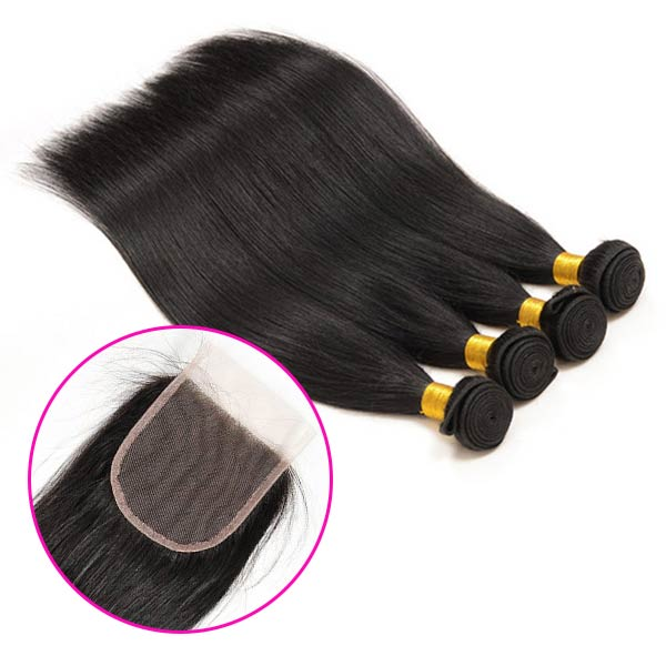 8A Brazilian Straight Human Virgin Hair Weave 4 Bundles With Lace Closure