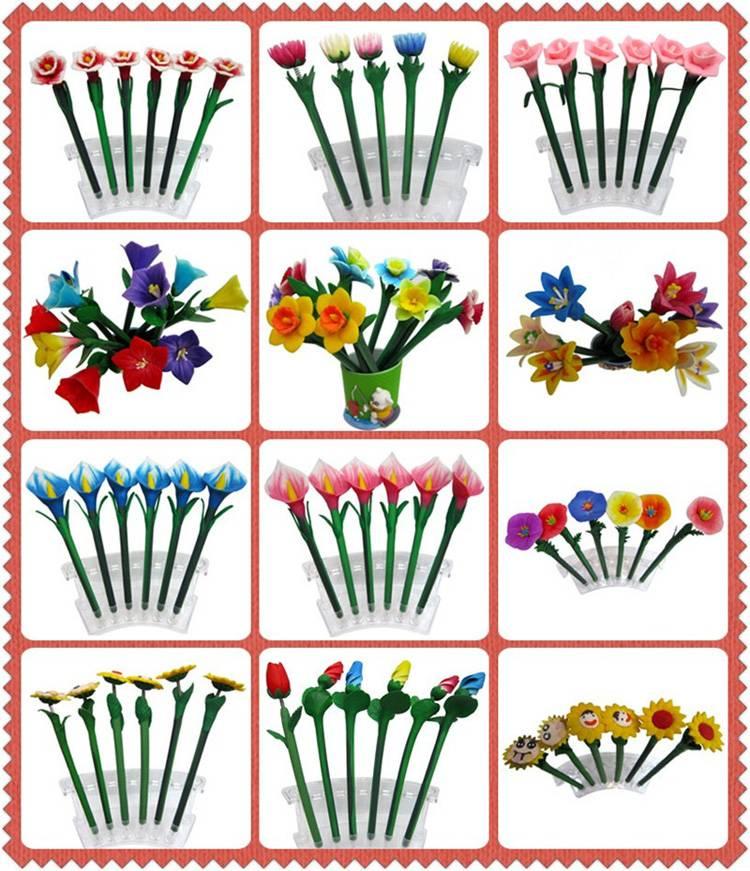 Custom made logo print flower shape pen