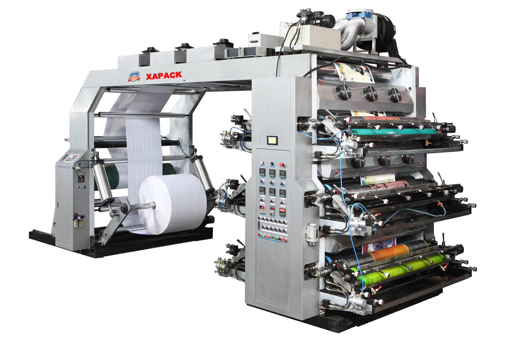 Stack type six colors flexo printing machine