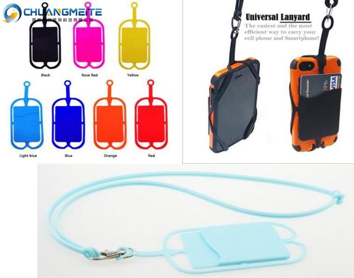Universal mobile phone card holder silicone lanyard neck hanging chain lanyard promotional gifts